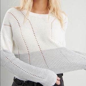 3/$20 Garage white and grey pointille sweater